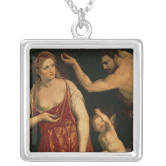 Venus and Mars, 1550s Silver Plated Necklace