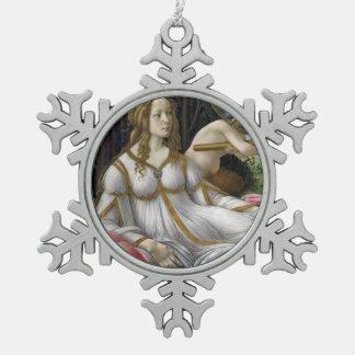 Venus and Mars by Sandro Botticelli Snowflake Pewter Christmas Ornament