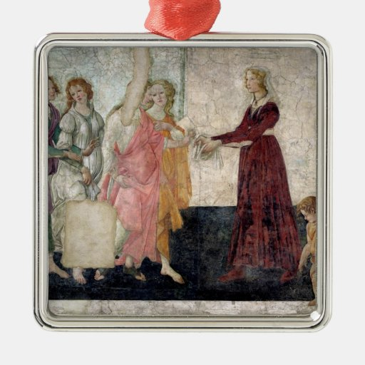 Venus and the Graces Square Metal Christmas Ornament
