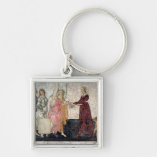 Venus and the Graces Silver-Colored Square Keychain