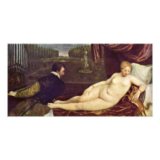 Venus And The Organ Player By Tizian Customized Photo Card