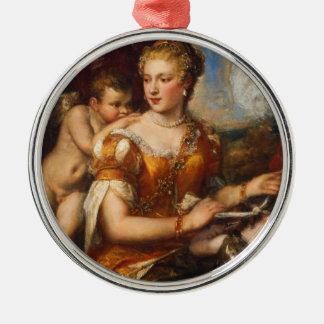Venus Blindfolding Cupid Metal Ornament