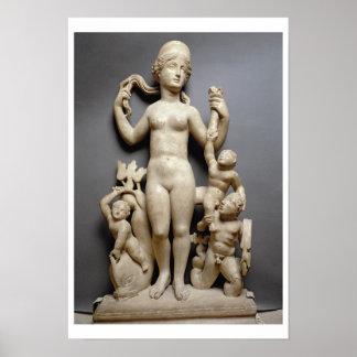 Venus con el putti, un tritón y un delfín, romanos posters