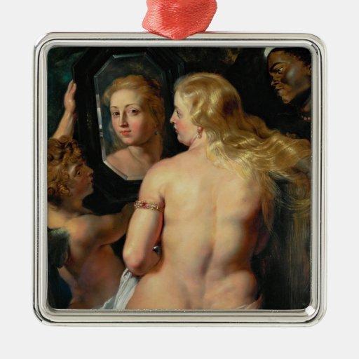 Venus con un aceite de Peter Paul Rubens del Adorno Navideño Cuadrado De Metal