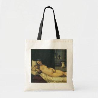 Venus de Urbino por Titian, arte renacentista Bolsa Tela Barata