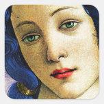 Venus en azul pegatina cuadrada