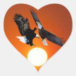 Venus en tránsito con dos águilas calcomania de corazon personalizadas