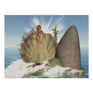 Venus esc, 3D Poster With Female And Sea View