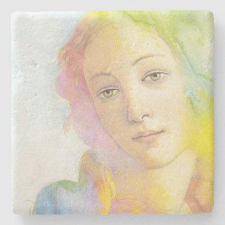 Venus etéreo con el pelo de la acuarela posavasos de piedra