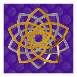 Venus flower duo GoldSilver of | flower OF life pa Posters
