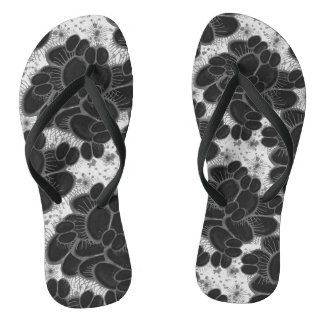 Venus Fly Trap Abstract Black and White Flip Flops