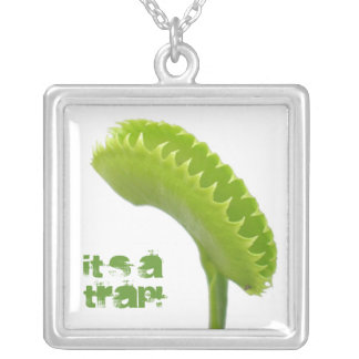 Venus Fly Trap Carnivorous Plant Silver Plated Necklace