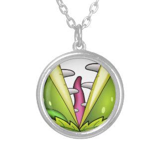 venus flytrap monster silver plated necklace