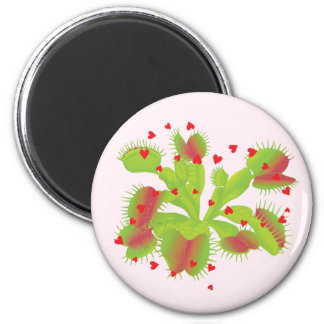 Venus Flytrap with Hearts 2 Inch Round Magnet