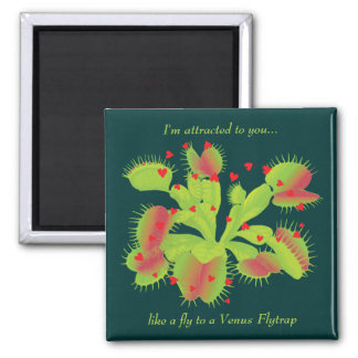 Venus Flytrap with Hearts 2 Inch Square Magnet