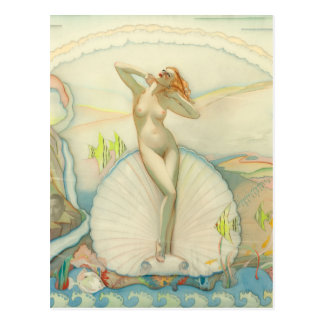 Venus in a Half Shell, 1937 Pin Up Art Postcard