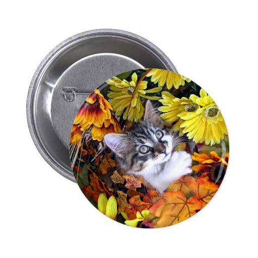 Venus, Kitty Cat Reaching Up, Fall Flowers Pinback 2 Inch Round Button