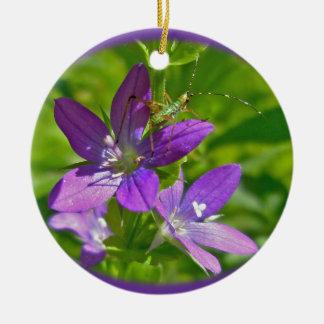 Venus Looking Glass Wildflower & Grasshopper Ceramic Ornament