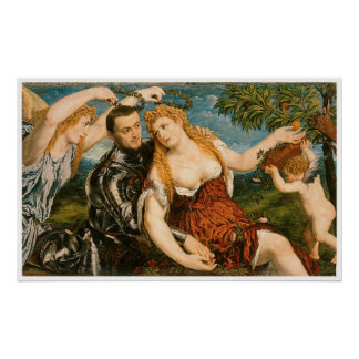 Venus, Mars, and Cupid Crowned by Victory Poster