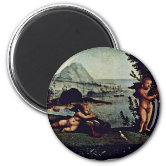 Venus, Mars And Cupid Detail By Piero Di Cosimo (B Refrigerator Magnets