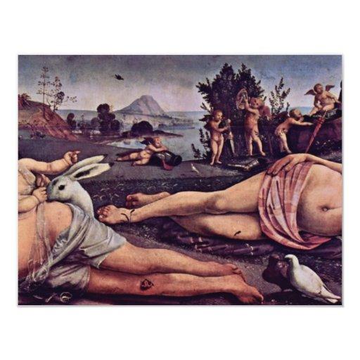 """Venus, Marte y Cupid, italiano: Venere E Marte Amo Invitación 4.25"""" X 5.5"""""""
