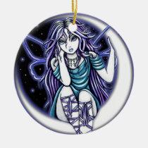 venus, moon, crescent, teal, violet, fairy, faery, faerie, fae, fairies, art, fantasy, big, eyed, myka, jelina, mika, faeries, Ornament with custom graphic design
