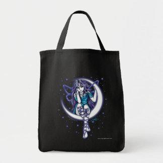 """Venus Moon"" Crescent Moon Fairy Art Canvas Tote"