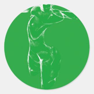 Venus of Milo on Green Classic Round Sticker