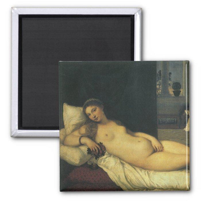 Venus of Urbino by Titian, Renaissance Art 2 Inch Square Magnet