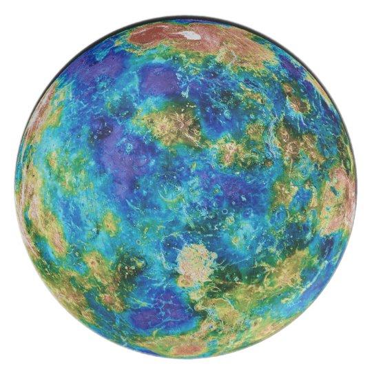 Venus Under False Color Dinner Plate