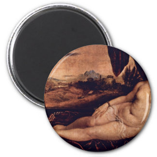 Venus With Cupid And Organist Dog By Tizian Magnet
