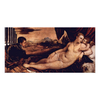 Venus With Cupid And Organist Dog By Tizian Photo Card