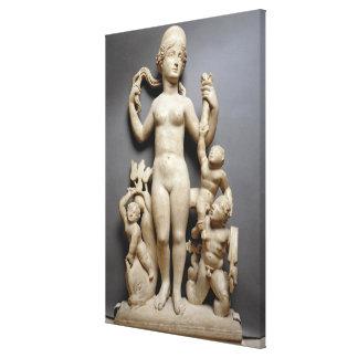 Venus with putti, a triton and a dolphin, Roman, 4 Canvas Print