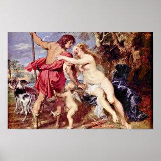 Venus y Adonis de Rubens Peter Paul Posters