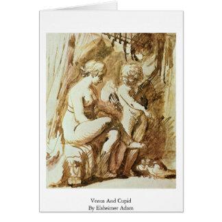 Venus y Cupid de Elsheimer Adán Tarjeta De Felicitación