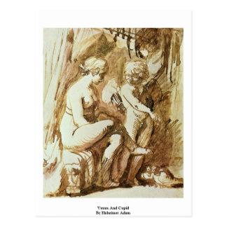 Venus y Cupid de Elsheimer Adán Postal