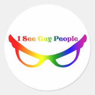 Veo a gente gay etiqueta redonda