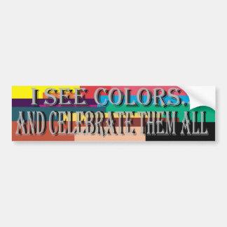 Veo a la pegatina para el parachoques de los color etiqueta de parachoque