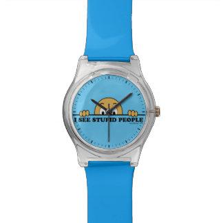 Veo diseño divertido del refrán de la gente relojes de mano