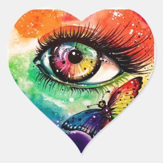 Veo el arco iris pegatina corazon