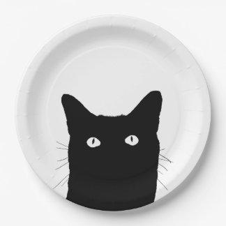 Veo el gato hacer clic para seleccionar un color plato de papel de 9 pulgadas