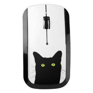 Veo el gato hacer clic y seleccionar su fondo del ratón inalámbrico