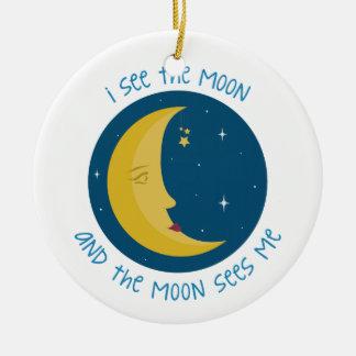 Veo la luna adorno navideño redondo de cerámica