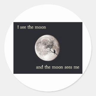 Veo la luna pegatina redonda