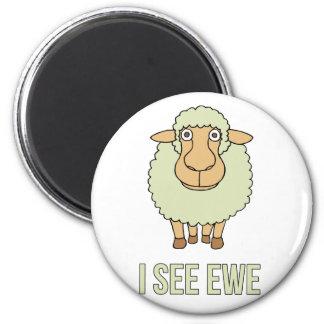 Veo la oveja imán redondo 5 cm