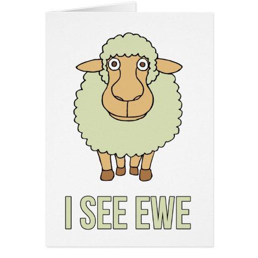 Veo la oveja tarjeta de felicitación