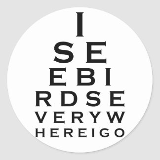 Veo los pájaros Eyechart Pegatina Redonda