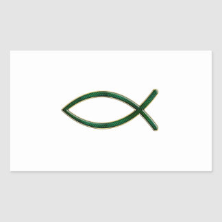 ver 01 - Jesus Fish - Clear Background Rectangular Stickers