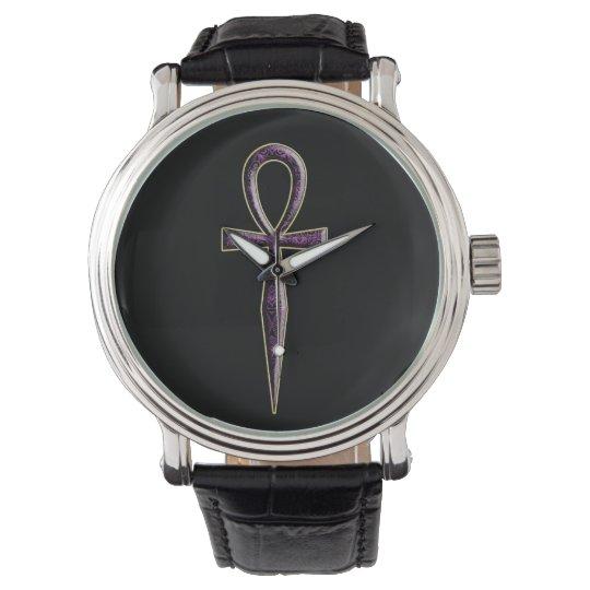 ver 10 - Ankh - fondo negro Relojes De Pulsera