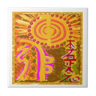 ver 2013. Símbolos curativos de REIKI Azulejo Cuadrado Pequeño